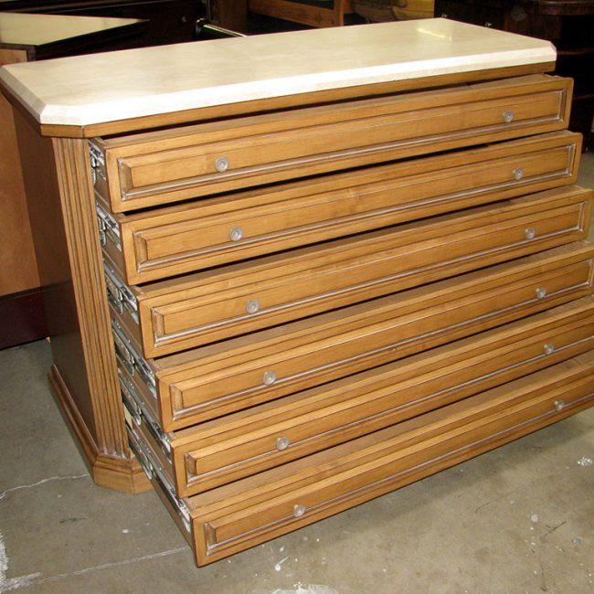 Kreiss Continental Custom 6-Drawer Dresser with Travertine Top